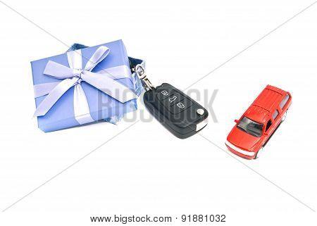 Gift Box, Car And Keys