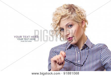 Portrait Of A Young Successful Attractive Business Woman, Isolated On White Background. Close Up Stu