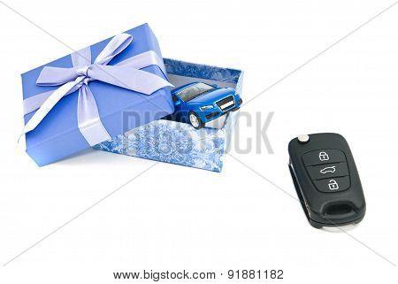 Car Keys, Blue Car And Blue Gift Box