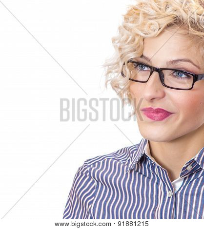 Thinking Woman Looking Contemplative And Thoughful, Isolated On White Background. Young Businesswoma