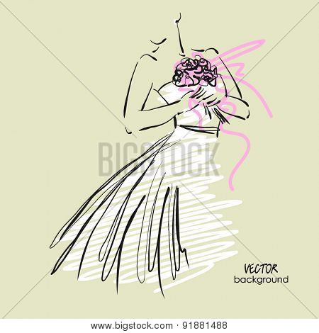 art sketch #9 of beautiful young  bride in white dress with the bride's bouquet. Vector background with space for text.