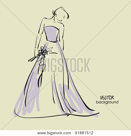 art sketch #10 of beautiful young  bride in lilac dress with the bride's bouquet. Vector background with space for text.