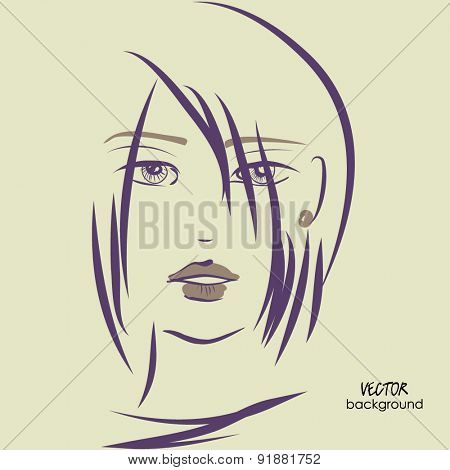 art sketched vector of girl face symbols with short straight hair and long bangs