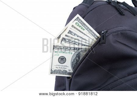 Back Pack With Dollar Banknotes