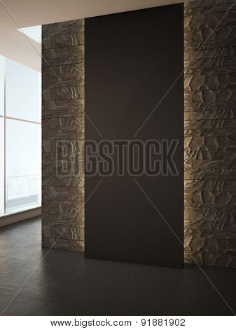 Black blank wall for advertising. 3d rendering