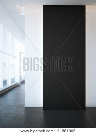 Black wall for advertising at office. 3d rendering
