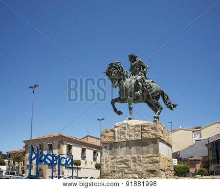 King Alfonso Viii Statue In Puerta Del Sol Of Plasencia, Caceres