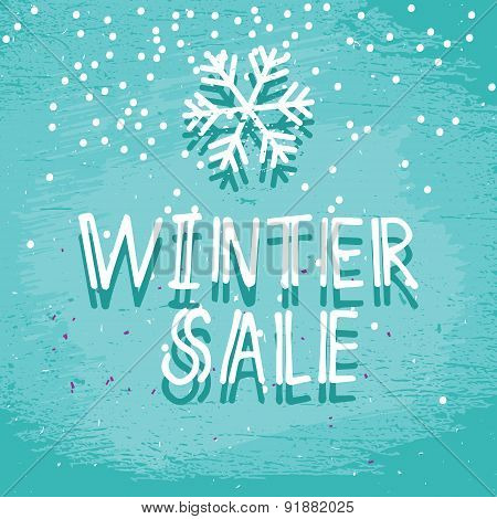Winter Sale Blue Frosty Card