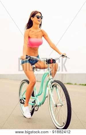 Riding Her Brand New Bicycle.