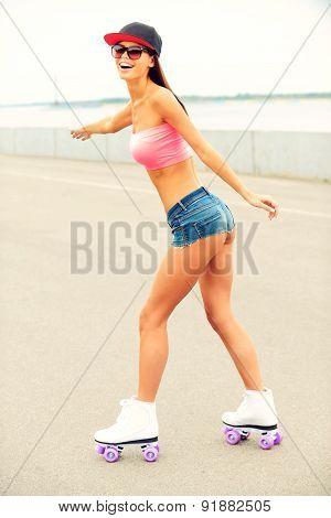 Girl Roller Skating.