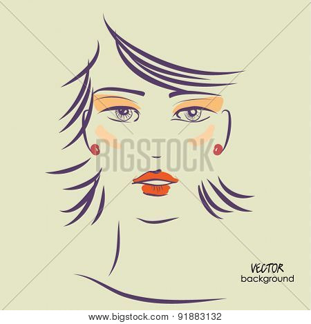 art sketched vector of girl face symbols with hairstyle for party