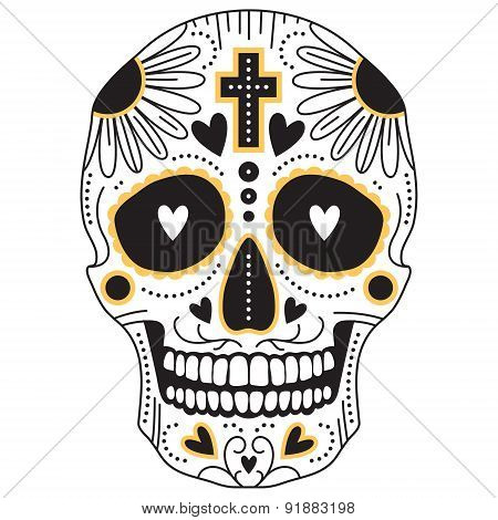 Yellow And Black Sugar Skull