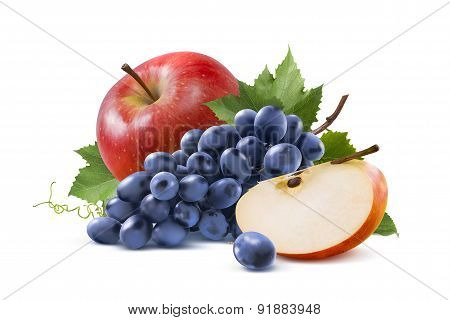 Red Apple And Blue Grapes Isolated On White Background