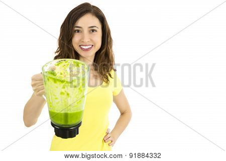 Healthy Eating Woman Holding A Jar Of Green Vegetable Juice