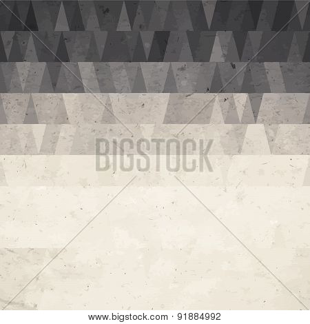 Abstract geometric background from watercolor triangle on grunge paper texture