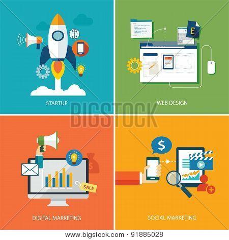 Set Of Digital Marketing,startup, Web Design And Social Marketing