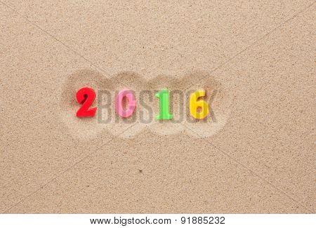 New Year 2016 Written In The Sand