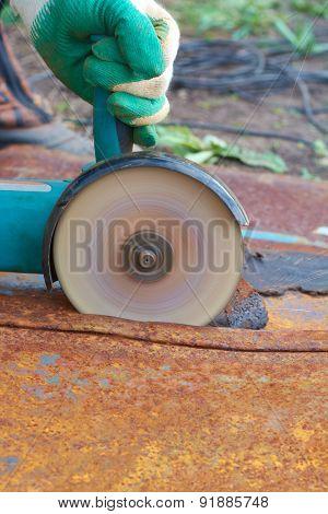 Angle Grinder Cut Metal