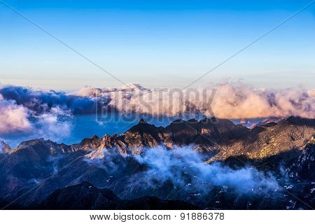 Mountains With White And Pink Clouds