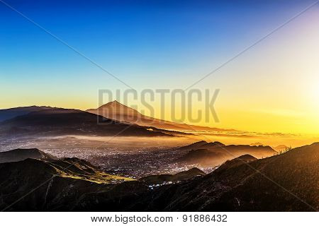 Sunset In Mountains  And Teide Volcano