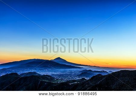 Sunset In Mountains With Teide Volcano