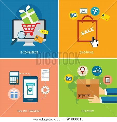 Set Of E-commerce And Shopping Concept Flat Design