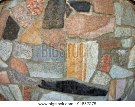 Defocused And Blur Image Of Mosaics Made Of Large Stone Blocks Of Marble