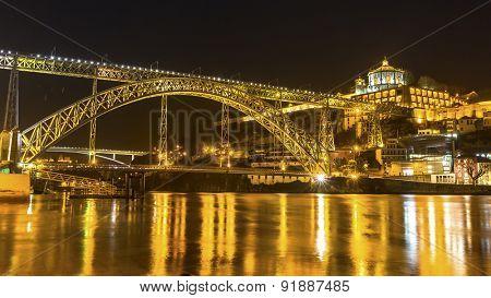 Dom Luis I Bridge at night time in Old Porto, Portugal.