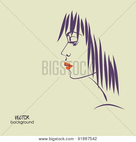 art sketched vector of girl face  symbols in profile with short straight hair