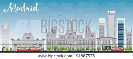 Madrid Skyline with grey buildings and blue sky. Vector illustration