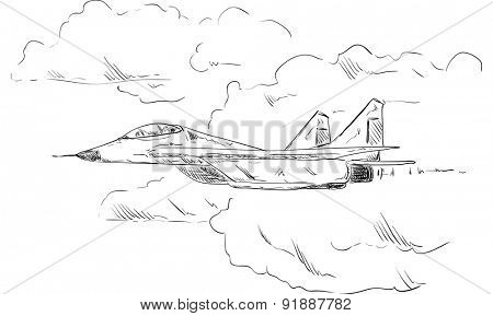 vector - Combat aircraft   flying in clouds, isolated on background
