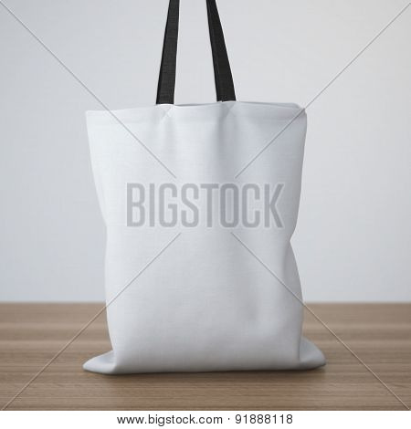 White cotton bag on the table