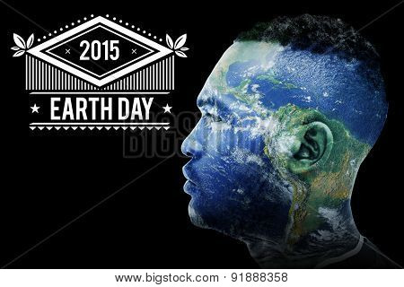 earth day against earth overlay on face