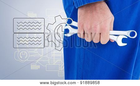 Male mechanic holding spanners against grey vignette