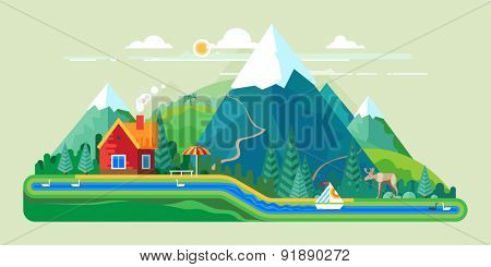 Vector flat illustration - House at the lake. House in the mountains. Wild nature. Ecotourism