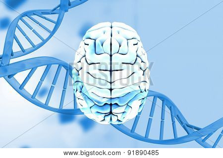 brain against medical background with blue dna helix