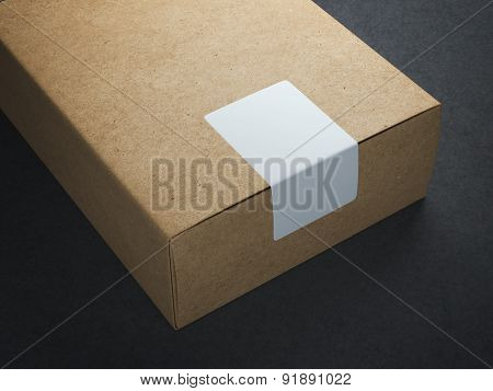 Craft paper box with white sticker
