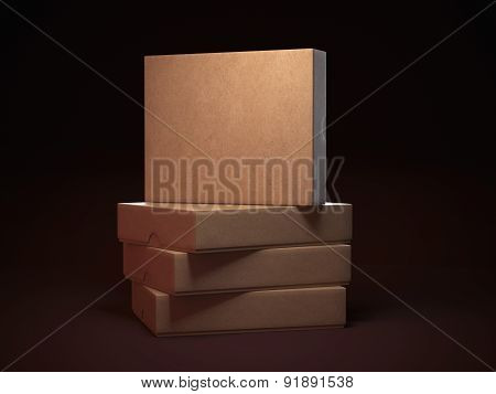 Pile of flat cardboard boxes