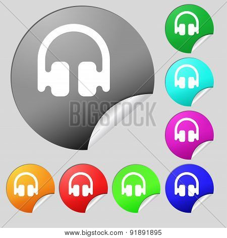 Headphones, Earphones Icon Sign. Set Of Eight Multi-colored Round Buttons, Stickers. Vector