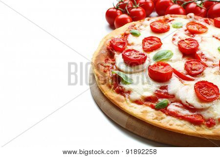 Delicious pizza with cheese and cherry tomatoes isolated on white