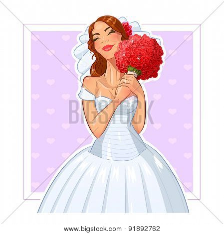 Beautiful bride with bunch of roses. Vector illustration. Isolated on white background