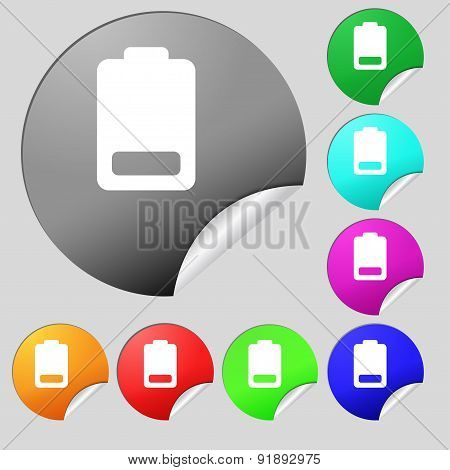 Battery Low Level, Electricity Icon Sign. Set Of Eight Multi-colored Round Buttons, Stickers. Vector