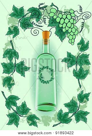 Wine Bottle With Grape Frame