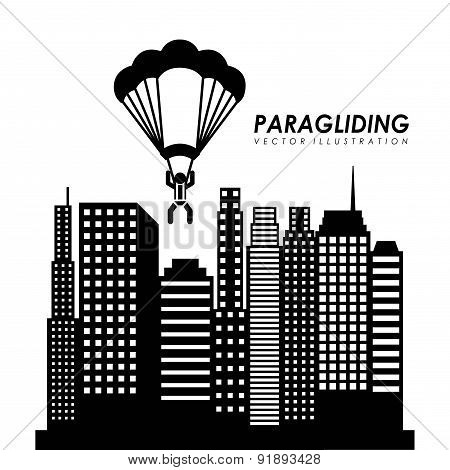 Paragliding design over cityscape background vector illustration