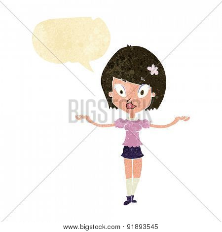 cartoon woman making balancing gesture with speech bubble