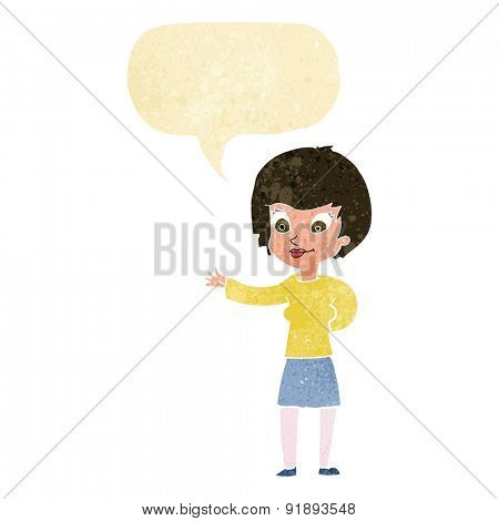 cartoon welcoming woman with speech bubble