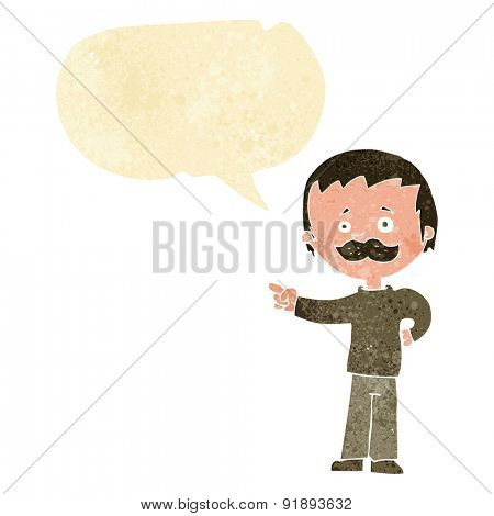 cartoon man with mustache pointing with speech bubble