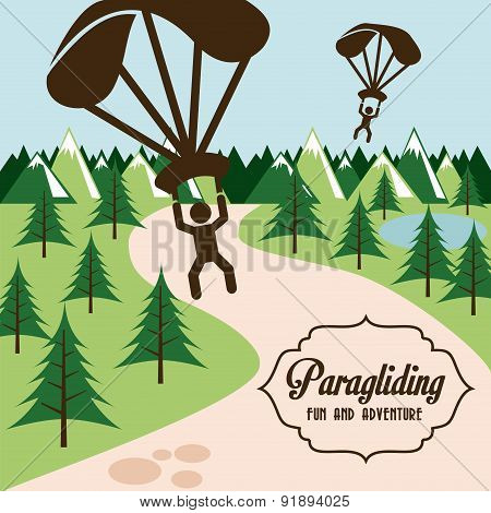 Paragliding design over landscape background vector illustration