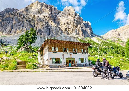 Bikers touring European Alps, Italy