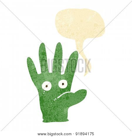 cartoon hand with eyes with speech bubble